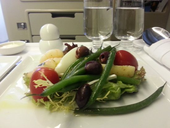 "The entrée, nicoise salad with marinated seared prawns, delicious! (Singapore Airlines ""Book the Cook"")"
