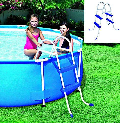 Swimming Pool Ladder 2 Steps Metal Frame Safety Stepladder For Above Ground Pool #Bestway