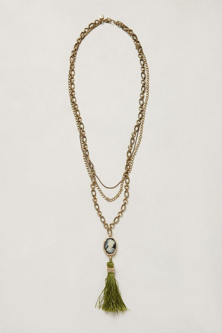 this is sweet. i would add some funky beads of different lengths too... Cameo Valley Tassel Necklace - anthropologie.com
