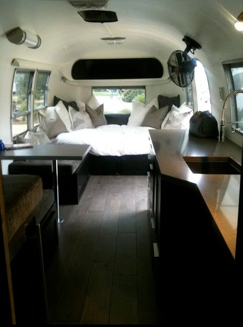 1968 Airstream Bambi travel trailer with a beautiful custom interior.