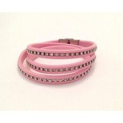 Bracciale in gomma rosa con filo strass 3 giri