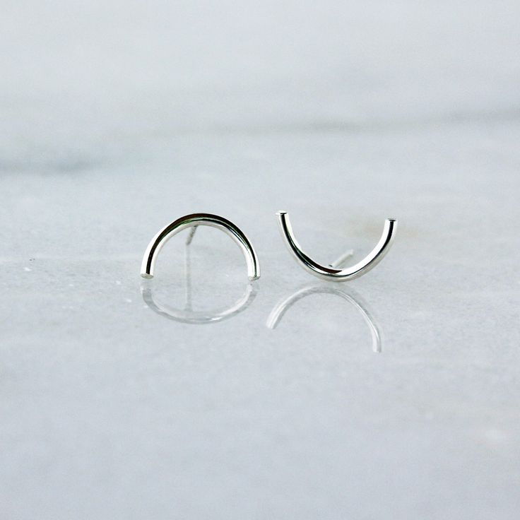Silver Half Circle Studs, Crescent Moon Earrings, Sterling Silver Simple Everyday Style, Minimalist Jewelry by ShopClementine on Etsy