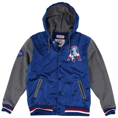 New England Patriots Mitchell & Ness League Standings Jacket – Royal Blue