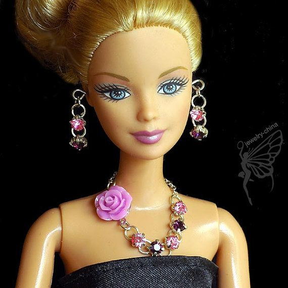 barbie doll jewelry set barbie necklace and earring by sinogem