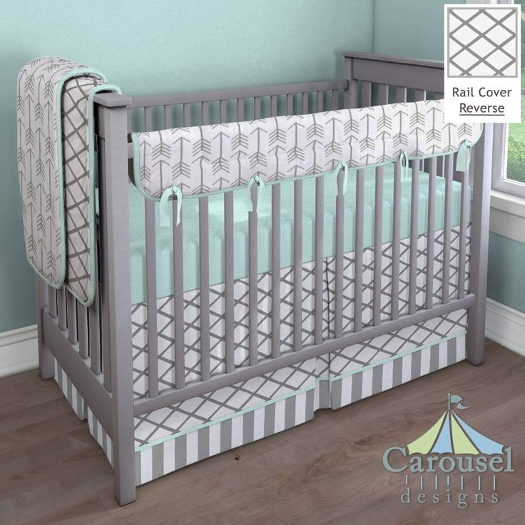 Neutral Crib bedding in Mint Mini Stripe, Cloud Gray Trellis, White and Gray Stripe, White and Gray Arrow. Created using the Nursery Designer® by Carousel Designs where you mix and match from hundreds of fabrics to create your own unique baby bedding.