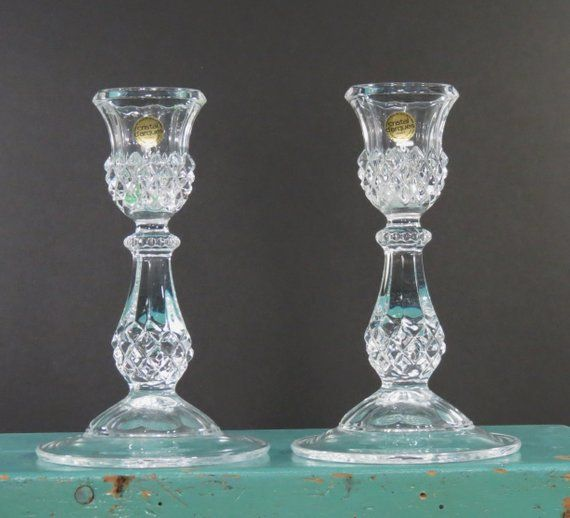 Vintage cristol d'arques 24% Lead Crystal Candle Holders . Longchamp Pattern Taper Candlesticks France