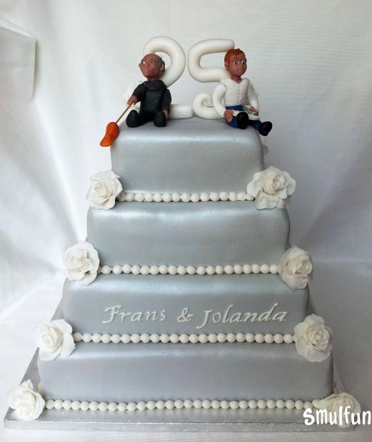Moderne bruidstaart zilver | De mooiste bruidstaarten vind je bij Smulfun.nl