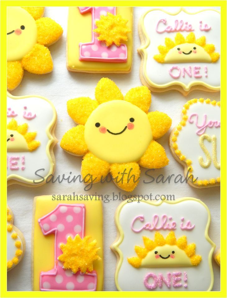 You Are My Sunshine Cookies, Sunshine Cookies, Yellow and Pink Cookies, Decorated Cookies, Sugar Cookies