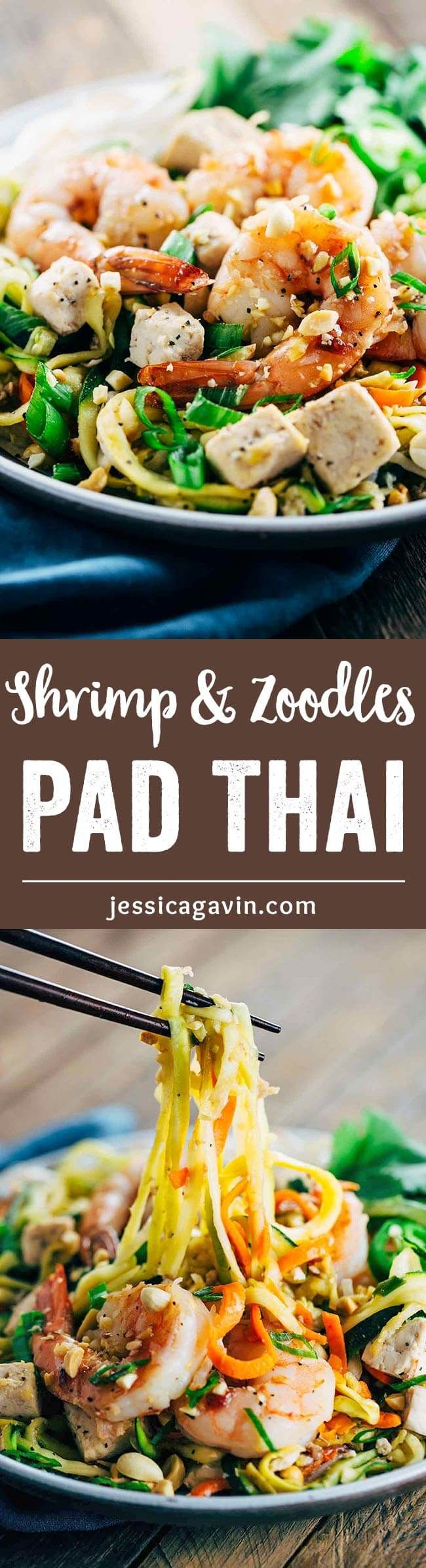 Shrimp Pad Thai with Vegetable Noodles