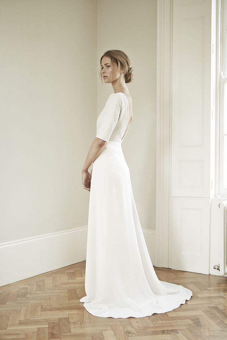 Charlotte SImpson bridal gown. Half sleeves floor length wedding dress.