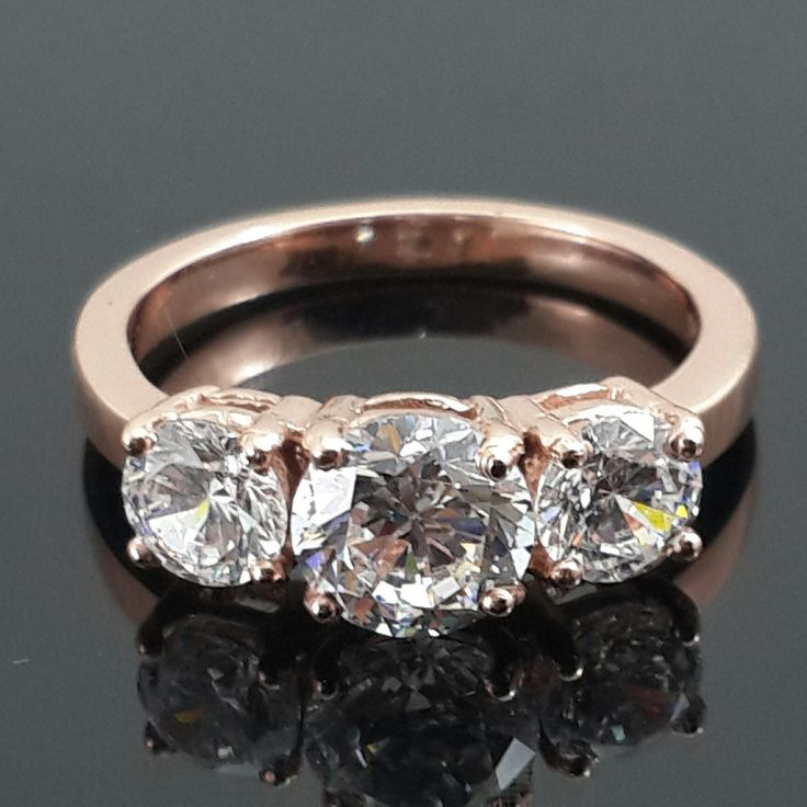 Solid Rose gold  AAAAA grade cubic zirconia three stone engagement ring 9ct by IsaBellaJewellery on Etsy