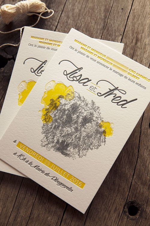 faire part de mariage en jaune et gris anthracite letterpress wedding invit. Black Bedroom Furniture Sets. Home Design Ideas