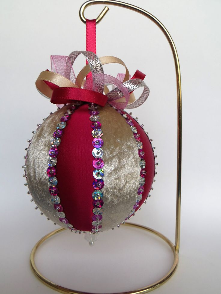 Christmas Ornament - Simple Wine Colored Satin and Beige Velvet with Hot Pink and Silver Hologram Sequin Trim by OrnamentDesigns on Etsy