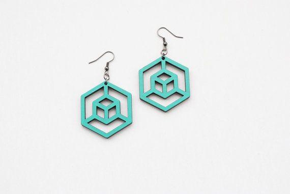 Geometric earrings hexagon earrings cube earrings by elfinadesign