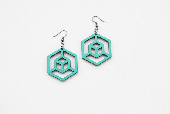 Geometric earrings hexagon earrings cube earrings by elfinadesign