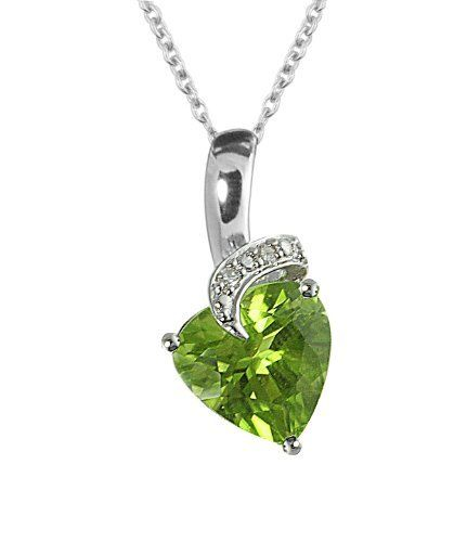 """Sterling Silver Diamond and Peridot Heart Pendant Necklace (.03 cttw, H-I Color, I2-I3 Clarity), 18"""" Amazon Curated Collection. $95.99. All our diamond suppliers certify that to their best knowledge their diamonds are not conflict diamonds.. The natural properties and composition of mined gemstones define the unique beauty of each piece. The image may show slight differences to the actual stone in color and texture.. Made in China. The total diamond carat weight l..."""