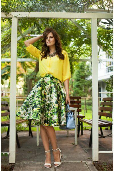 green TB Dress skirt - yellow H&M blouse