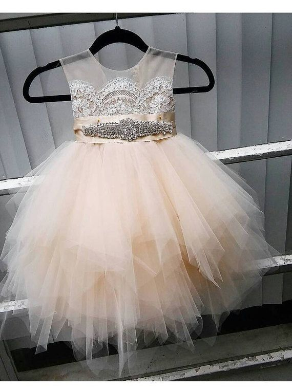 flower girl dress 'Bianca' with rhinestone sash, sheer netting, French lace, pouffy butterscotch  tulle skirt, birthday dress, fairy dress