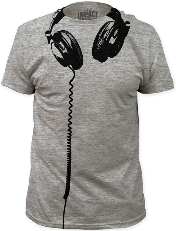 Our grey tshirt features a drawing of DJ style headphones hanging underneath the neck with the cord running down the shirt. The perfect addition to the music lover and/or DJ's wardrobe, this men's tee is made from 100% cotton.