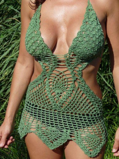 Érdekes zöld trikini, Ruha, divat, cipő, Női ruha, Fürdőruha, Fehérnemű, Meska