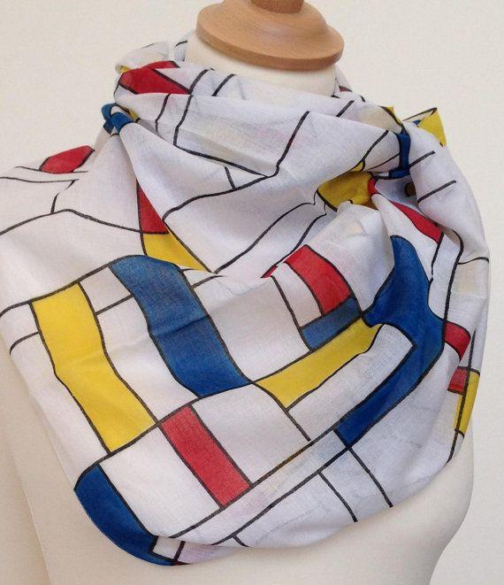 Mondrian style print scarf in 100% cotton