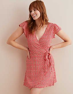 6c438be935 Aerie Wrap Dress, Scarlet | American Eagle Outfitters Scarlet, Flutter  Sleeve, Color,