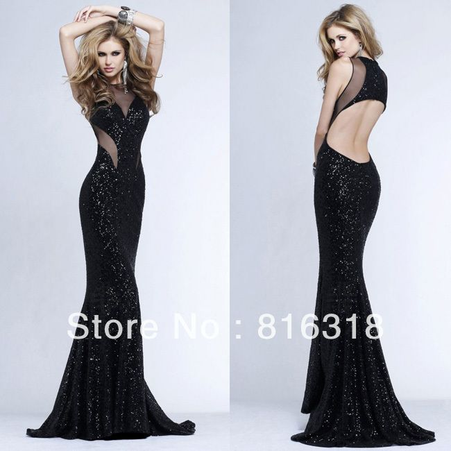 vestidos formales sexy open back sequin dress black