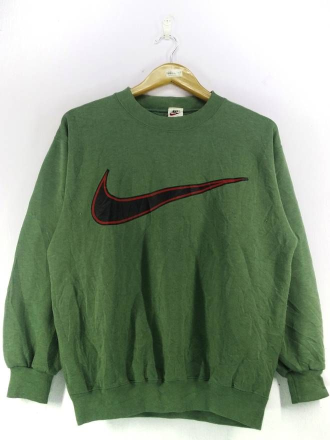 Nike Vintage 90 S Nike Swoosh Big Swoosh Logo Green Sweatshirt Jumper Pullover Size Medium Size Us M Eu 48 50 2 Nike Outfits Green Sweatshirt Vintage Nike