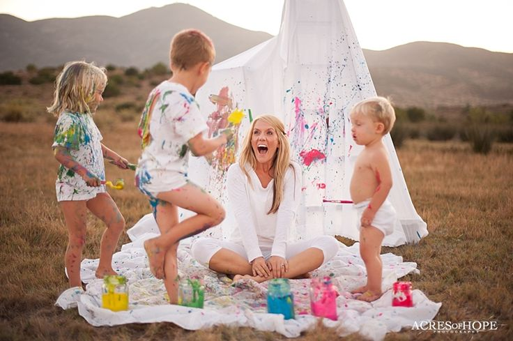 """Family Paint War! So fun! - PS - she's a way cooler mom than I am.  It looks like so much fun, but it would really require my type """"A"""" personality to relax big time!!"""