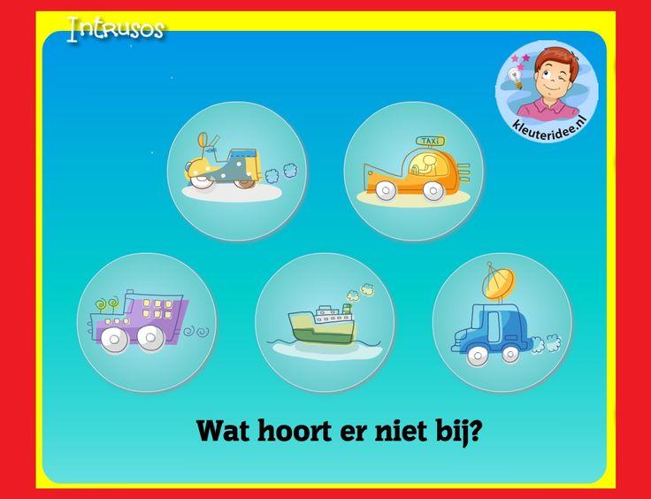 Wat hoort er niet bij,  met  kleuters op digibord of computer  op kleuteridee, Kindergarten educative game for IBW or computer