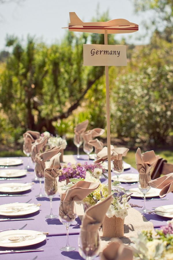 Vintage travel themed wedding. Not 100% on the plane but definitely want travel theme for decor!