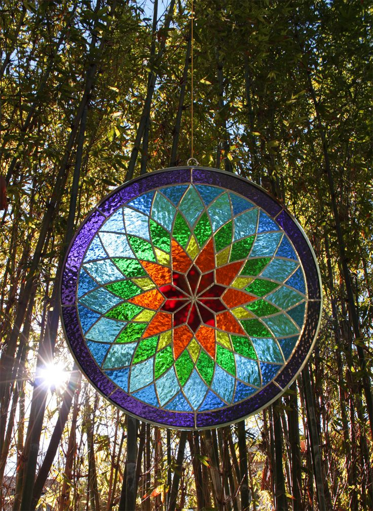 Stunning Rainbow Mandala stained glass 15 inch diameter by Supreme Swan
