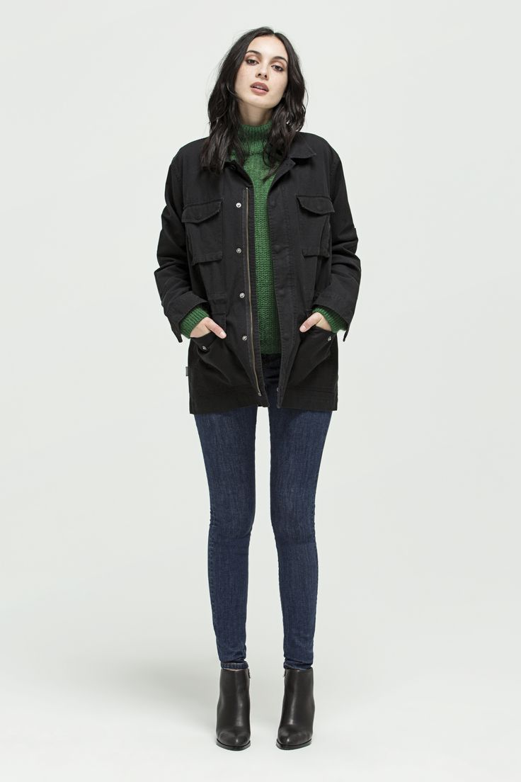 M-51 Field Jacket (Black), Cara Sweater (Emerald) and W - Mid Rise Skinny (Indigo - 2 year wash)