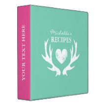 Personalized mint green and pink vintage deer antler kitchen recipe binder book Custom cookbook with heart and personalizable colour plus name. Cute personalized baking / cooking gift idea for women; ie mom, mother, aunt, wife, sister, grandma etc. Rustic country chic design with faded love symbol. Elegant typography for custom name. Cute gift idea for dinner party. Also nice for weddings.