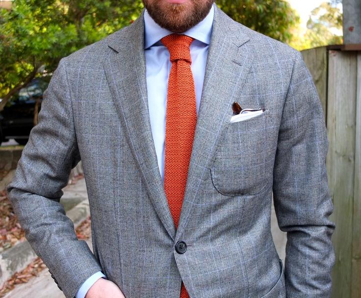 Light grey jacket light blue shirt orange knit tie for Blue suit grey shirt
