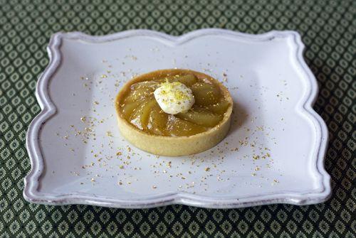 Caramelized Pear Tart with Mascarpone Cream