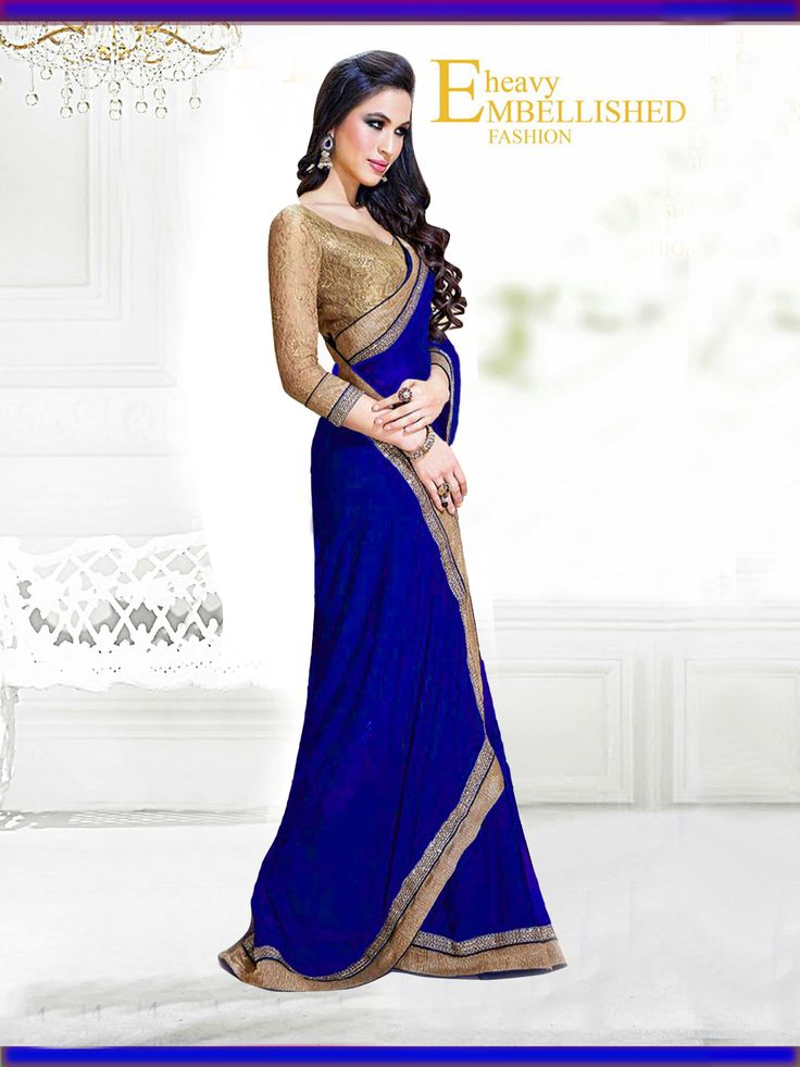 Fabric/Material:- #Saree : Dhupian|Blouse: #Chiffon | Pattern: #Printed Color: #Blue Size : Saree: 5.50Mtr. | Blouse: .80Mtr. | Price - 615/- #SuratTex