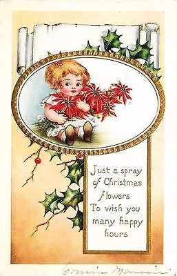 Whitney Christmas Card 1914 Baby Girl with Poinsettias Antique Vintage Postcard - Moodys Vintage Postcards - 1
