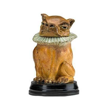 """MARTIN BROTHERS; Glazed stoneware dog tobacco jar, England, 1903; Base signed Martin Bros., head signed Martin Bros. London + Southall 8-1903; On base: 5 3/4"""""""