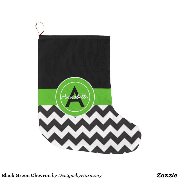 Black Green Chevron Large Christmas Stocking