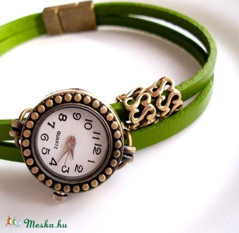 Olajzöld  -bronz színű karóra, karkötő óra, Ékszer, óra, Karóra, óra, Karkötő…