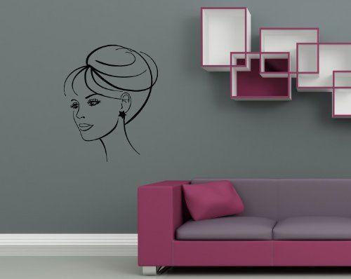 wall vinyl decal sticker art design woman face female portrait room nice picture decor hall wall