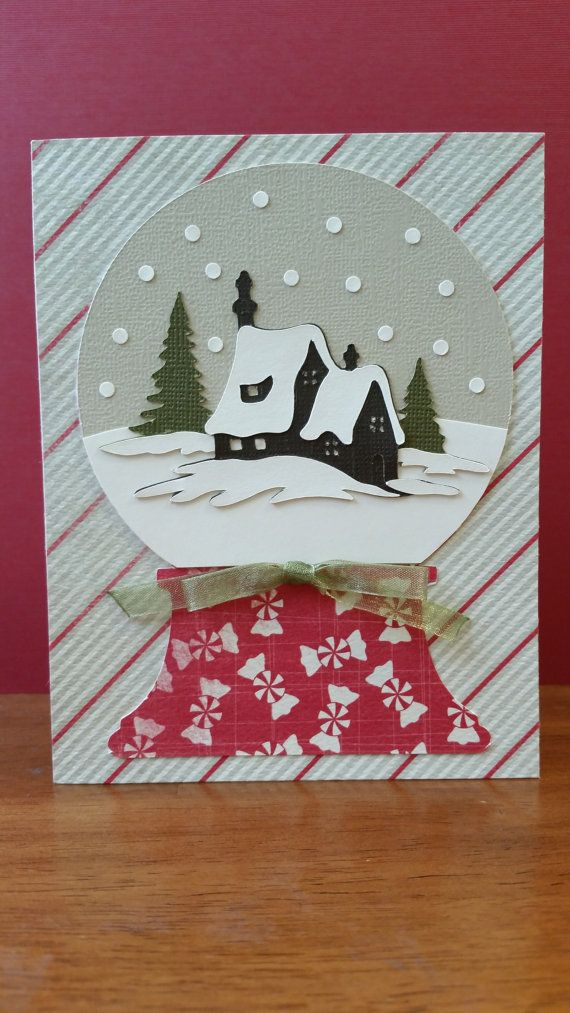 Christmas lodge in a snow globe Christmas by BarbsCardBoutique