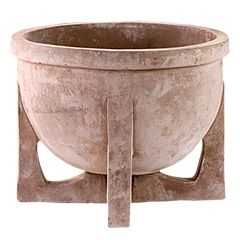 Grey Bowl on Stand | Boutique Collection | Seibert & Rice: Fine Italian Terracotta from Impruneta