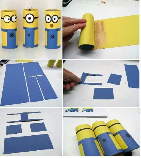 Upcycle toilet paper rolls to make minions with this fun craft for kids.