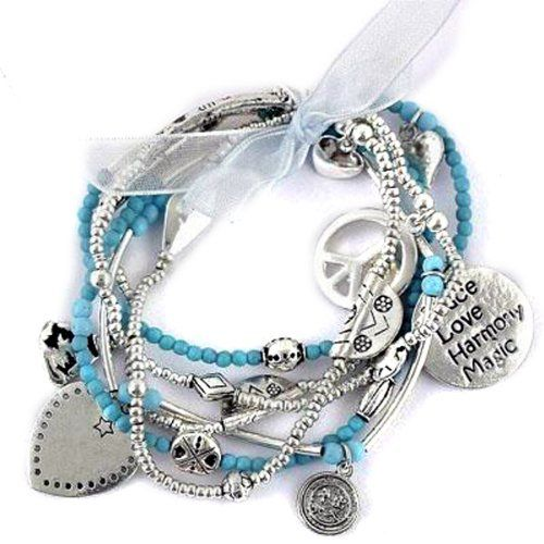 Karma Buddha Heart Peace Sign Hope Joy Charm Silver Turquoise Bracelets SET of 6 Silver Fever. $19.99. Anti-Tarnish. Durable Elastic Band Stretches to fit Wrists up to size 8. 6 Turquoise Bracelet Set. Hypo Allergenic. Silver Plated Beads and Charms