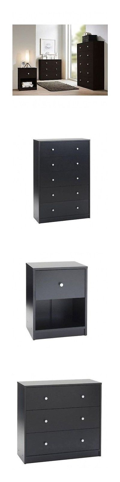 Bedding: 3 Piece Bedroom Furniture 5 Drawer Dresser Modern Dark Nightstand Clothes Chest BUY IT NOW ONLY: $299.99