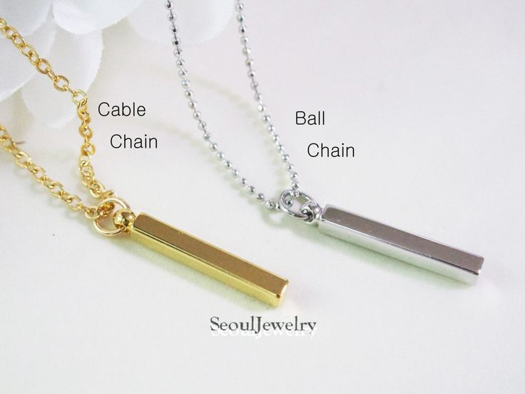 Vertical Cube Bar Necklace, Choice of Chain Type and Length, Unisex Necklace, His & Hers Necklace, Layering Necklace by SeoulJewelry on Etsy