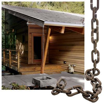 Rain chains lead water from the gutter directly to the ground, without any clog-prone elbows. They're typically anchored to a gravel dry well and are best for houses with deep overhangs.   Photo: Rick Keating/Cornerhouse Stock, Wendell T. Webber (chain)   thisoldhouse.com