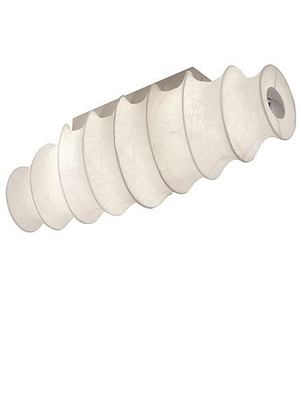 Deze plafondlamp is vervaardigd van staal met een nikkel-mat afwerking en is voorzien van wit cocoon.